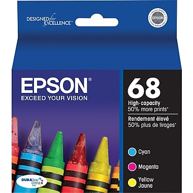 Epson® 68 (T068520-S) Cyan, Magenta, Yellow Ink Cartridges, High Yield, 3/Pack