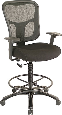 TempurPedic Ergonomic Fabric MidBack Drafting Stool Black
