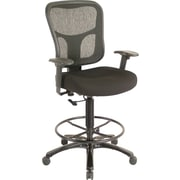 Tempur-Pedic Ergonomic Fabric Mid-Back Drafting Stool, Black, Black