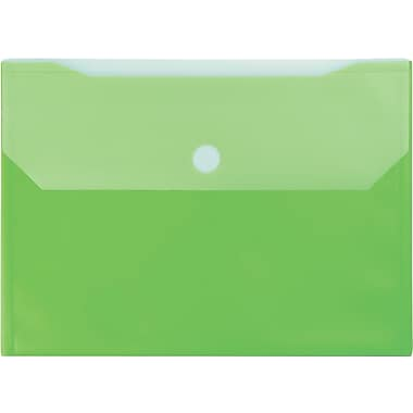 Winnable Velcro Poly File Pockets, Green, 12-Pack
