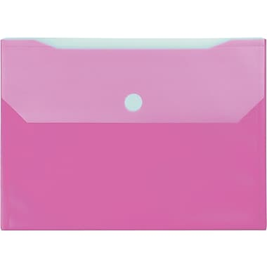 Winnable Velcro Poly File Pockets, Pink, 12-Pack