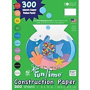 "Roselle Vibrant Art Heavyweight Construction Paper, 76 lb., Assorted, 9"" x 12"", 300/Pk"
