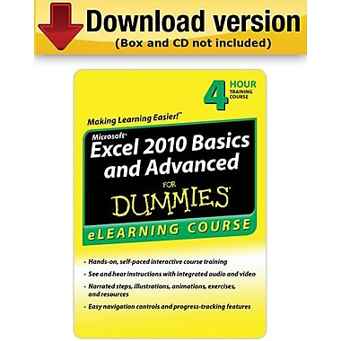 Excel 2010 Basics & Advanced For Dummies - 6 Month Access for Windows (1-User) [Download]