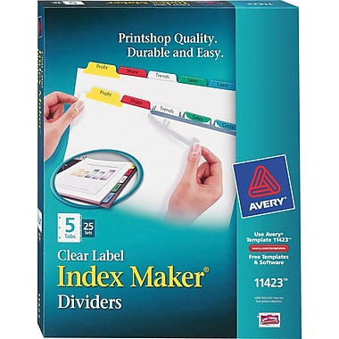 Avery® Index Maker Clear Label Tab Dividers, 5-Tab, Multicolor, 25 Sets/Pack