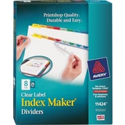 Avery® Index Maker Clear Label Tab Dividers, 8-Tab, Multicolor, 25 Sets/Pack