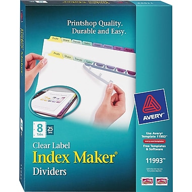 Avery® Index Maker Clear Label Tab Dividers, 8-Tab, Pastel Colors, 25 Sets/Pack