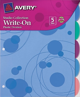 Avery® Signature Series Write-On™ Dividers, 5-Tab, 1 Set/Pack