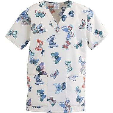 Medline ComfortEase Women Medium V-Neck Scrub Top, Butterflies Print (8800JBFM)