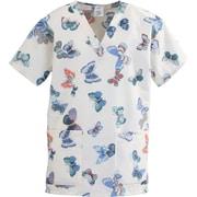 Medline ComfortEase Women Small V-Neck Scrub Top, Butterflies Print (8800JBFS)