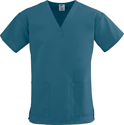 Medline ComfortEase Women 2XL V-Neck Scrub Top, Caribbean Blue (8800JCBXXL)