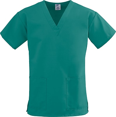 Medline ComfortEase Women Small V-Neck Scrub Top, Evergreen (8800JEGS)