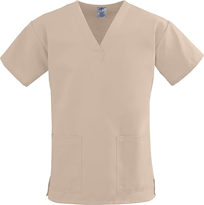 Medline ComfortEase Women Large V-Neck Scrub Top, Khaki (8800JKKL)