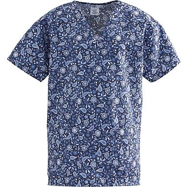 Medline ComfortEase Women XL V-Neck Scrub Top, Rhapsody Blue Print (8800JRPXL)