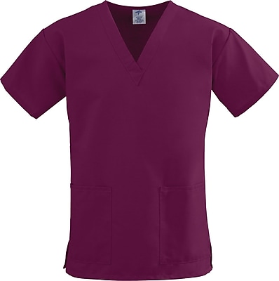 Medline ComfortEase Women 4XL V-Neck Scrub Top, Wine (8800JWN4XL)