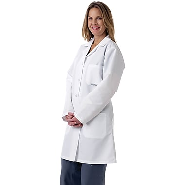 Medline Women Large Full Length Lab Coat, White (MDT13WHT3E)