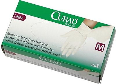 Curad® Powder-free Latex Exam Gloves, Beige, XS, 9