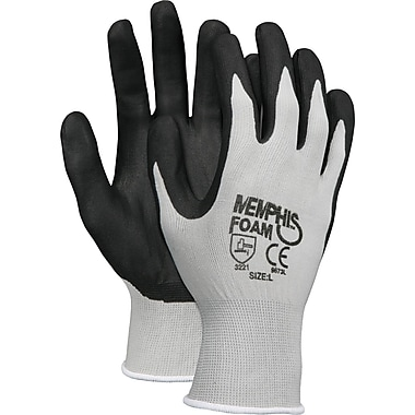 Memphis Gloves® Economy Foam Nitrile Gloves, Small, Gray/Black, 12 Pairs
