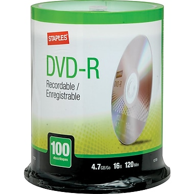 Staples® - DVD-R 4,7 Go, 16x, paq. cyl./100