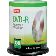 Staples® 4.7GB DVD-R, 16x, 100/Pack Spindle
