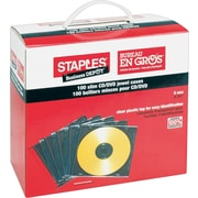 Staples® Translucent Black/Clear Slim Jewel Cases, 100-Pack