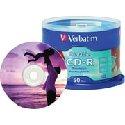 Verbatim® CD-R 52x 700MB/80min, Silver Printable, 50-Pack Spindle