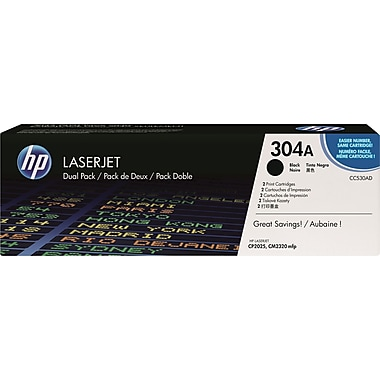 HP 304A Black Toner Cartridges, 2/Pack (CC530AD)