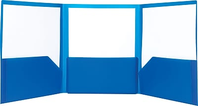 Staples® Tri-Fold Pocket Folder, Dark Blue