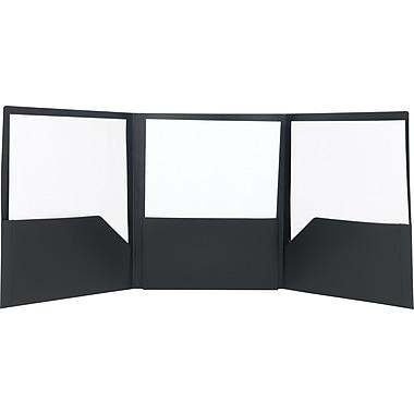 Staples® Tri-Fold Pocket Folder, Black