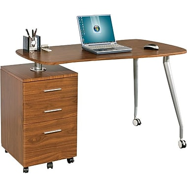 Star Kochab Mobile Computer Desk with Pedestal, Hazelnut