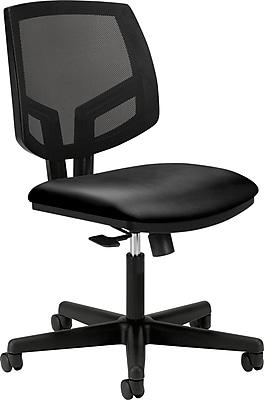 HON Volt Mesh Back Task Chair, Center-Tilt, Black SofThread Leather NEXT2018 NEXT2Day