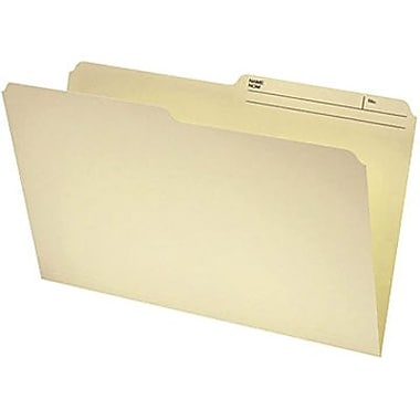 Staples® Recycled File Folder, 1/2-Cut, Legal Size, 11 pt., Manila, 100/Pack
