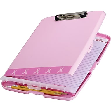OIC® BCA Plastic Slim Clipboard Storage Box, Pink, 14 1/2