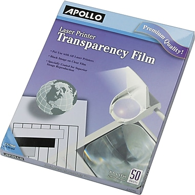 Apollo Transparency Film for Laser Printers, Letter, Clear, 8 1/2