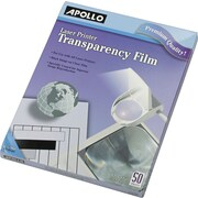 "Apollo® Black and White Laser Jet and Copier Transparency Film Without Sensing Stripe, 50 Sheets, 8.5"" x 11"""