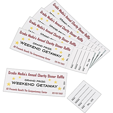 Avery(R) Tickets with Tear-Away Stubs 16154, Matte White, 1-3/4