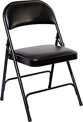 Alera Folding Chair with Padded Back/Seat, 4/Carton, Graphite ALEFC96B