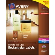 """Avery Easy Peel Print-to-the-Edge Glossy Clear Rectangle Labels, 2"""" x 3"""", Pack of 80 (22822)"""