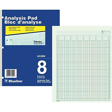 Blueline® Analysis Pad, A5208, 8 Columns