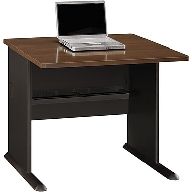 BushMD – Bureau 36 po de la collection Cubix, fini noyer Sienne/bronze