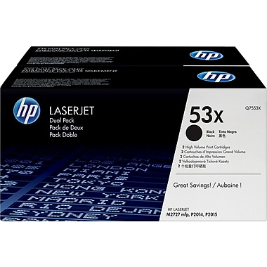 HP 53X (Q7553XD) Black High Yield Original LaserJet Toner Cartridges, 2/Pack