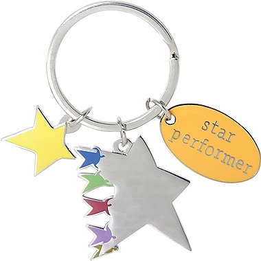 Baudville® Colorful Silver Star Charm Key Chains