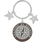 """Baudville® """"Leading by Example"""" Colorful Silver Star Charm Key Chain"""