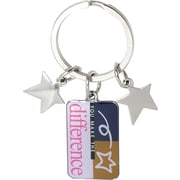 """Baudville® """"You Make the Difference"""" Colorful Silver Star Charm Key Chain"""