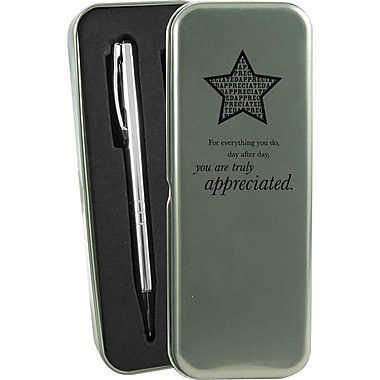 You are Truly Appreciated Silver Pen and Pencil Gift Set
