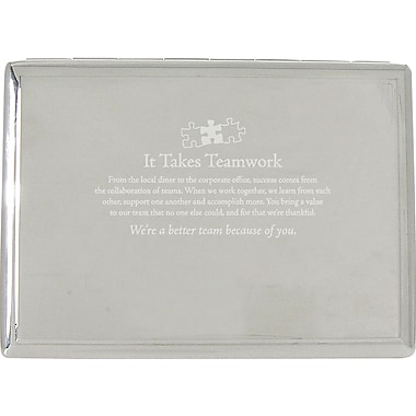 It Takes Teamwork Silver Desktop Perpetual Calendar with Organizer
