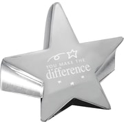 "Baudville® Star Paperweight with Engraved Message, ""You Make the Difference"", Silver"