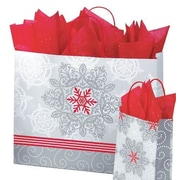 "Shamrock Printed Paper Shopping Bags, Christmas Lace, 16"" x 6"" x 13"""