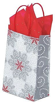 Shamrock Printed Paper Shopping Bags, Christmas Lace, 5-1/2
