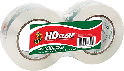 Duck® Crystal-Clear Packaging Tape, 1.88