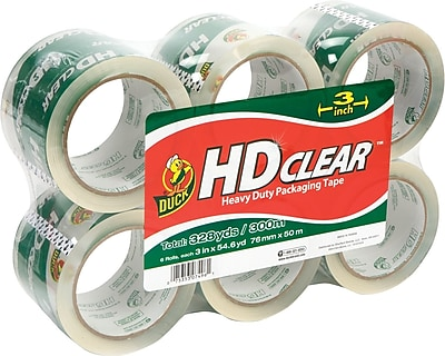 Duck® Crystal-Clear Packing Tape, 3